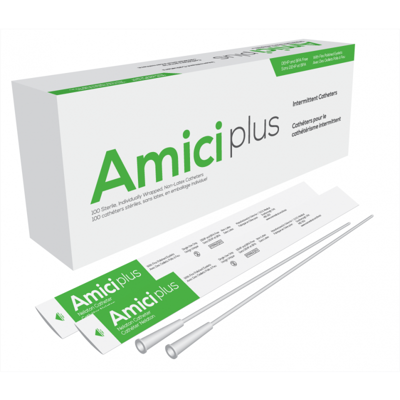 """Amici 5912 - AMICI Plus 16"""" Male Nelaton Intermittent Catheters, 12 Fr., Smooth Low-Profile Eyelets, Latex Free, DEHP & BpA Free PVC, BX 100"""