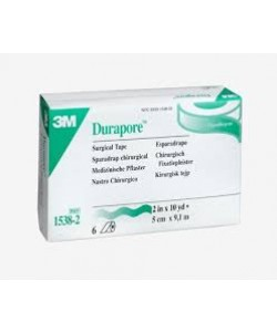 3M 1538-2 - 3M Durapore 2 inch x 10 yard (5cm x 9,14m) Silk-like, hypoallergenic tape, standard roll, BX 6