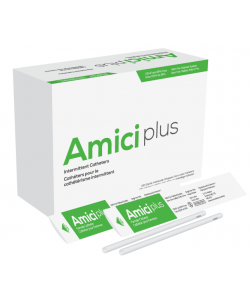 "Amici 5614 - AMICI Plus 7"" Female Intermittent Catheters, 14 Fr., Smooth Low-Profile Eyelets, Latex Free, DEHP & BpA Free PVC, No Adapter., BX 100"