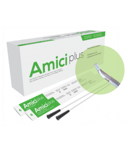 "Amici 5710 - AMICI Plus 16"" 10 Fr. Tiemann Intermittent Catheters, Smooth Low-Profile Eyelets, Latex Free, DEHP & BpA Free PVC, BX 100"