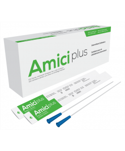 "Amici 5908 - AMICI Plus 16"" Male Nelaton Intermittent Catheters, 8 Fr., Smooth Low-Profile Eyelets, Latex Free, DEHP & BpA Free PVC, BX 100"