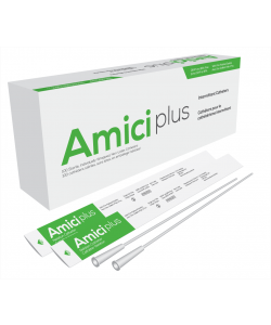 "Amici 5912 - AMICI Plus 16"" Male Nelaton Intermittent Catheters, 12 Fr., Smooth Low-Profile Eyelets, Latex Free, DEHP & BpA Free PVC, BX 100"