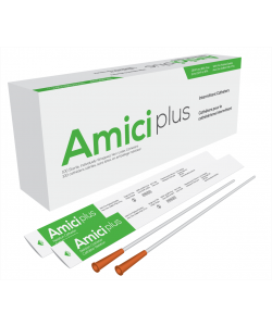 "Amici 5916 - AMICI Plus 16"" Male Nelaton Intermittent Catheters, 16 Fr., Smooth Low-Profile Eyelets, Latex Free, DEHP & BpA Free PVC, BX 100"