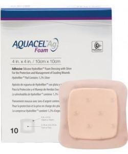 ConvaTec 420681 - Aquacel Ag Foam Adhesive Dressing 10cm x 10cm (4in x 4in), BX 10