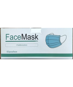 FaceMask EFM8603 - Disposable Face Mask with Ear Loops and Moldable Nose Piece, 175mm x 95mm, Non-Medical Use - NO RETURNS, BX 50