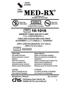 Med-RX 10-1016 - Tube Set, Mini Bore, Slide Clamp, 13.5 inch (34cm), CS 50