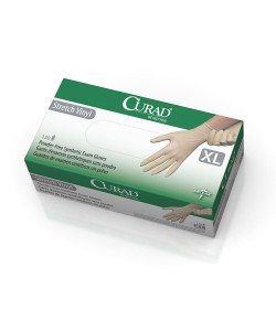 Medline CUR9227 - Curad Stretch Vinyl Exam Gloves, Powder-Free, Latex-Free, Non-Sterile, Extra-Large, BOX 130