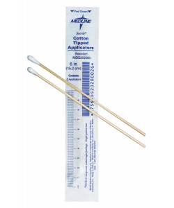 """Medline MDS202000 - 6"""" Cotton Tipped Wood Applicator, Sterile *WARNING: SHAFT MAY BREAK - DO NOT INSERT IN BODY ORIFICES*, BX 200"""
