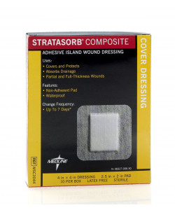 "Medline MSC3044 - STRATASORB Composite Island Dressing, 4"" x 4"", CS 100"