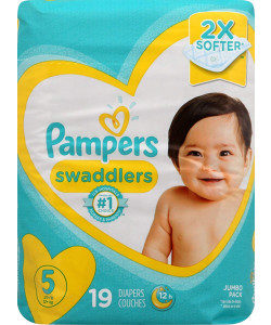 Pampers 10037000749599 - Pampers Swaddlers Disposable Diapers, Size 5, 27+lbs (Case of 4 Packs, 76 Total Diapers), CS 76