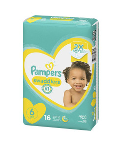 Pampers 10037000749612 - Pampers Swaddlers Disposable Diapers, Size 6, 35+ lbs (Case of 4 Packs, 64 Total Diapers), CS 64