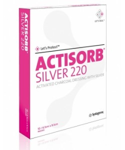 Systagenix MAS065 - Actisorb Silver 220 Activated Charcoal Dressing with Silver 6.5cm X 9.5cm, BX 10