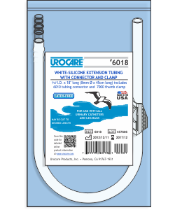 """Urocare 6018 - White-Rubber Extension Tube, 18"""" Long with Connector and Clamp, EACH"""