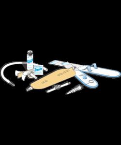 URO-KIT Latex Urinary leg bag Kit  32oz Large (incl. Fabric strap, urolux, straight thru adapter, thumb clamp, extension tube,