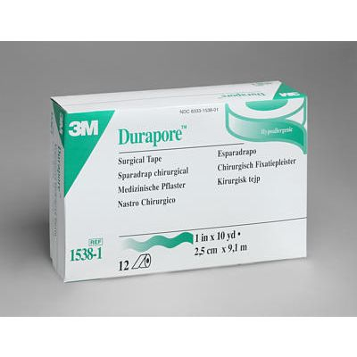 3M 1538-1 - 3M Durapore Tape 1 inch x 10 yard (2,5cm x 9,14m) Silk-like, hypoallergenic tape, standard roll, BX12