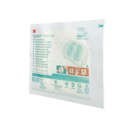 3M 90802 - TEGADERM Absorbent Acrylic Dressing, Small Square, 5-7/8  x 6 in (14.9 cm x 15 cm), BX 5