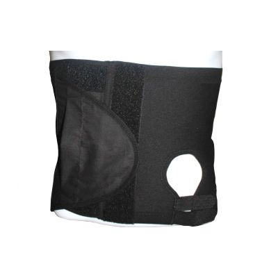 SecureWear Hernia/Ostomy Support Belt, Black, Adjustable Hole (Left), 10.25 in width, Size: L (41.25 to 47.25 inches)