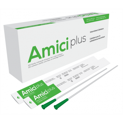 """Amici 5914 - AMICI Plus 16"""" Male Nelaton Intermittent Catheters, 14 Fr., Smooth Low-Profile Eyelets, Latex Free, DEHP & BpA Free PVC, BX 100"""