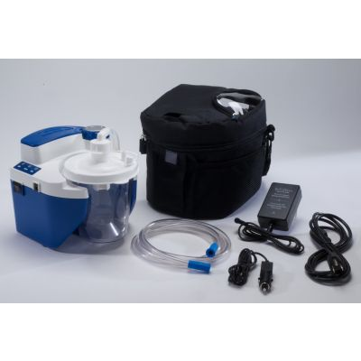 Devilbiss Healthcare 7314P-D - No Returns - Vacu-Aide QSU Suction Unit, Internal Battery, 800cc Disposable Bottle, 6' Tubing, AC/DC Adapter and Power Cord, Carrying Case, EA