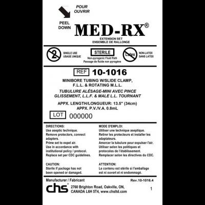 Med-RX 10-1016 - Tube Set, Mini Bore, Slide Clamp, 13.5 inch (34cm), CS 50