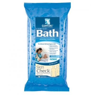Sage 7900 - Comfort Bath System Cleansing Washcloths,  With Aloe & Vitamin E, Latex Free, Clean Scent, CS of 44 Pkg of 8 Cloths, CS44/PK8